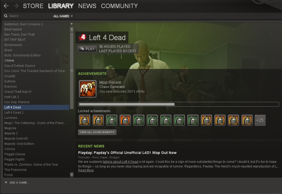In this tutorial, I'm removing Left 4 Dead so that I have space available to download TF2.