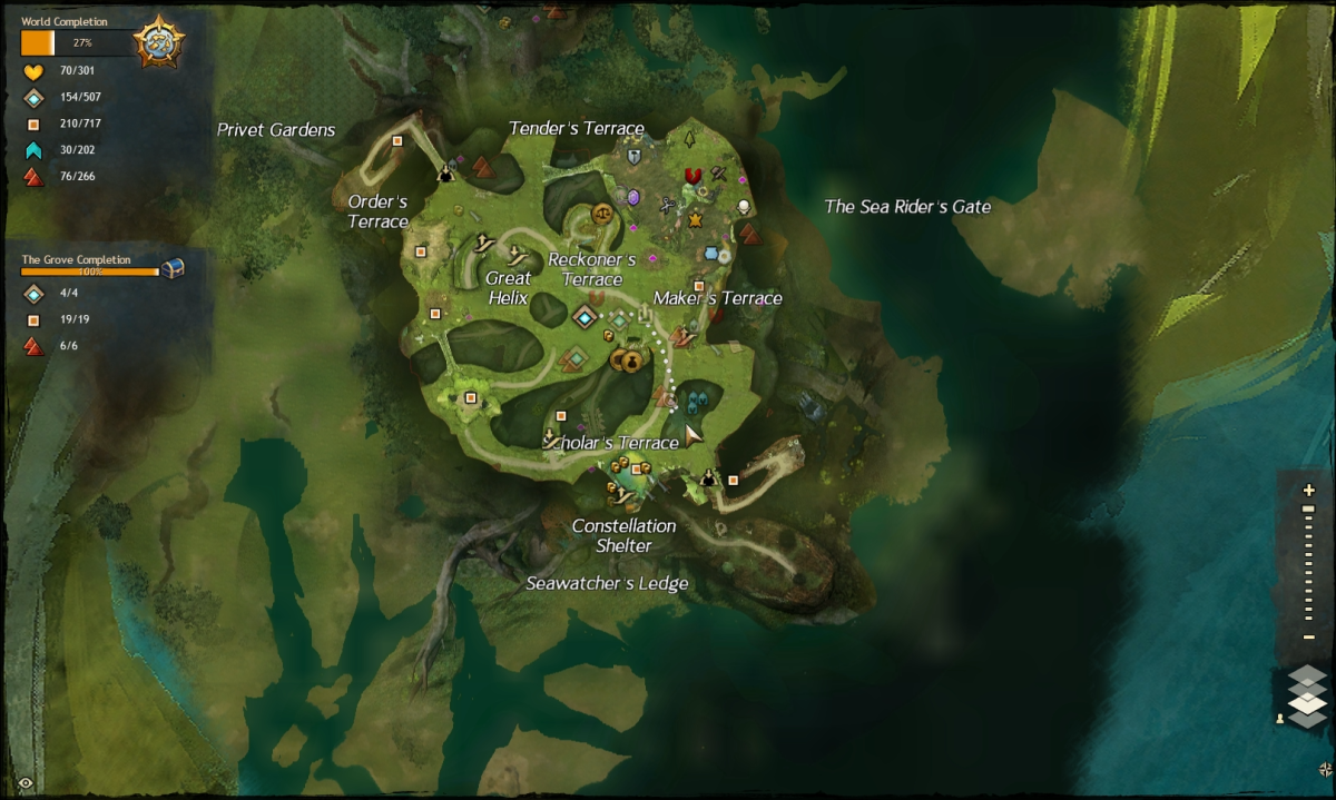 Map route to the Garden of Dusk vista.