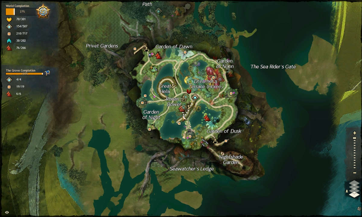 Map route to the Ronan's Bower / Reckoner's Terrace vista.
