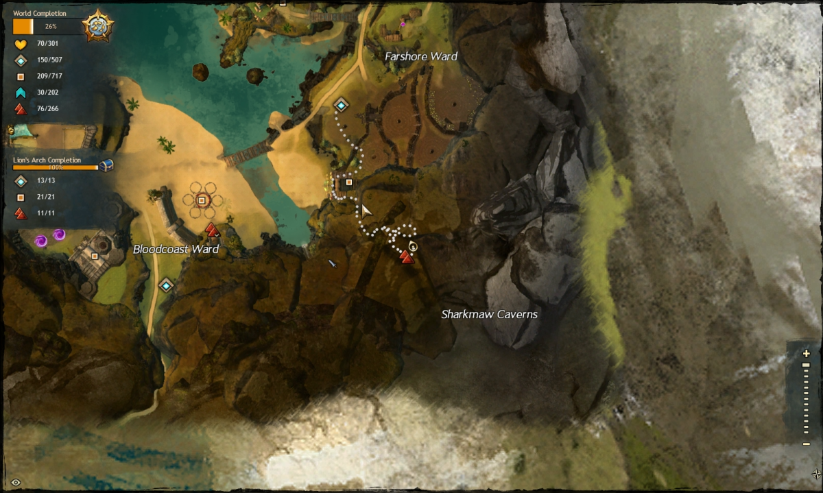 Map route to the Farshore Ward / Sharkmaw Caverns Vista