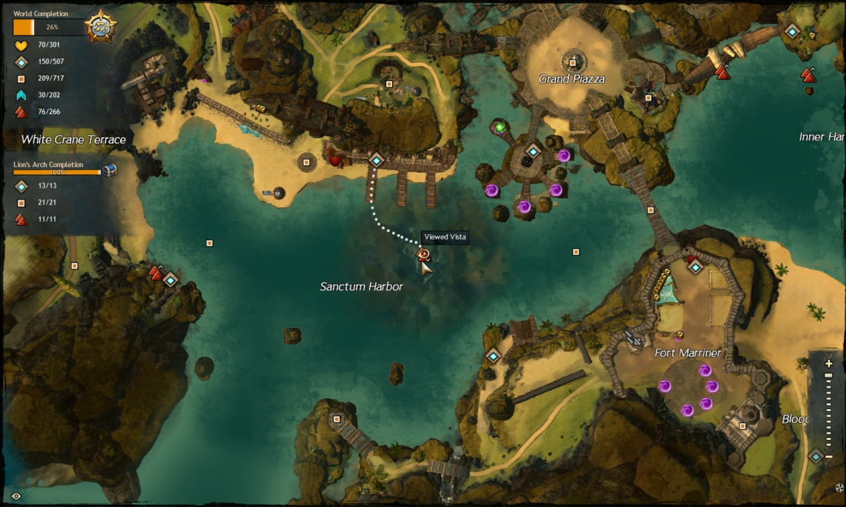 Map route to the Sanctum Harbor Vista