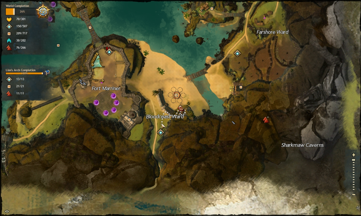 Map route to the Bloodcoast Ward Vista