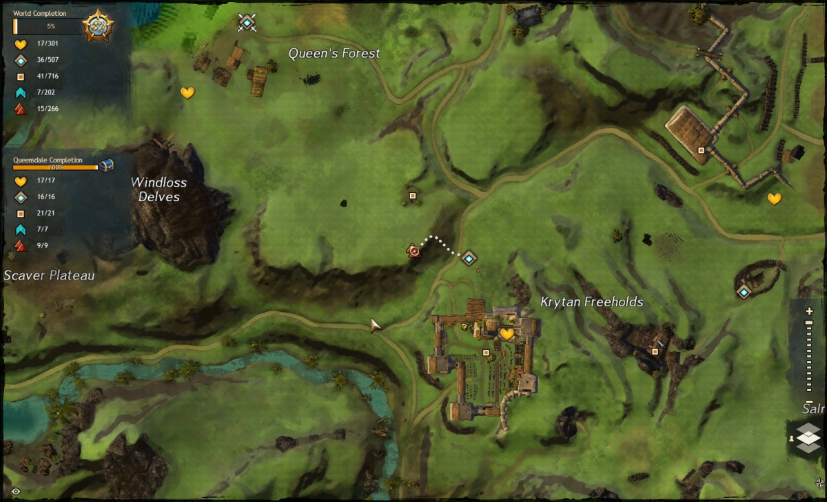 Map route to the Krytan Freeholds Vista
