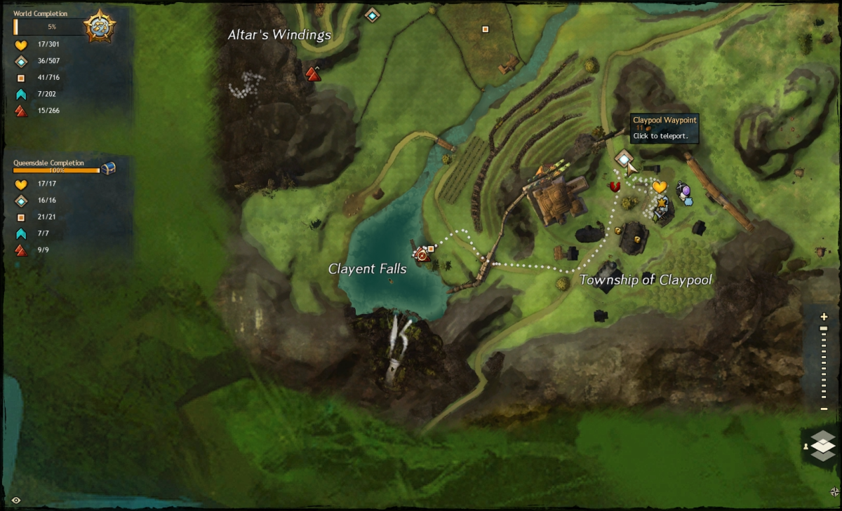 Map route to the Claylent Falls Vista