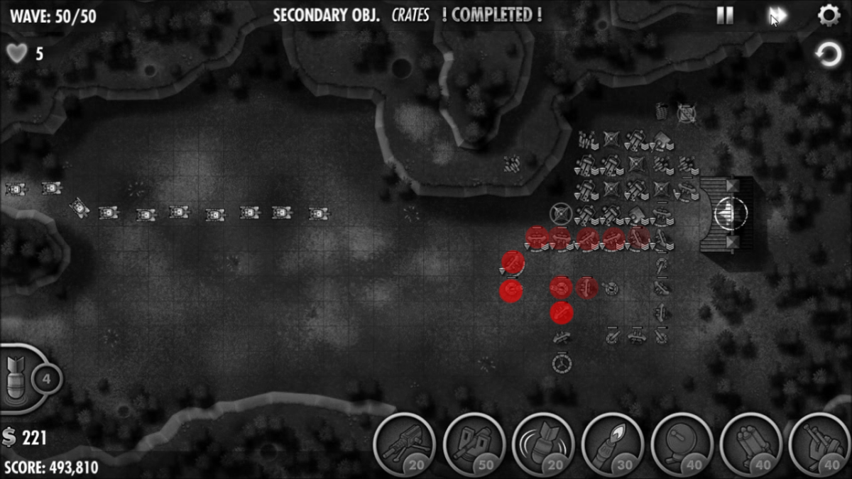 Heat Map: Showing which turrets take the most damage in the last half of the level (when it becomes significant). Brighter red means more damage.