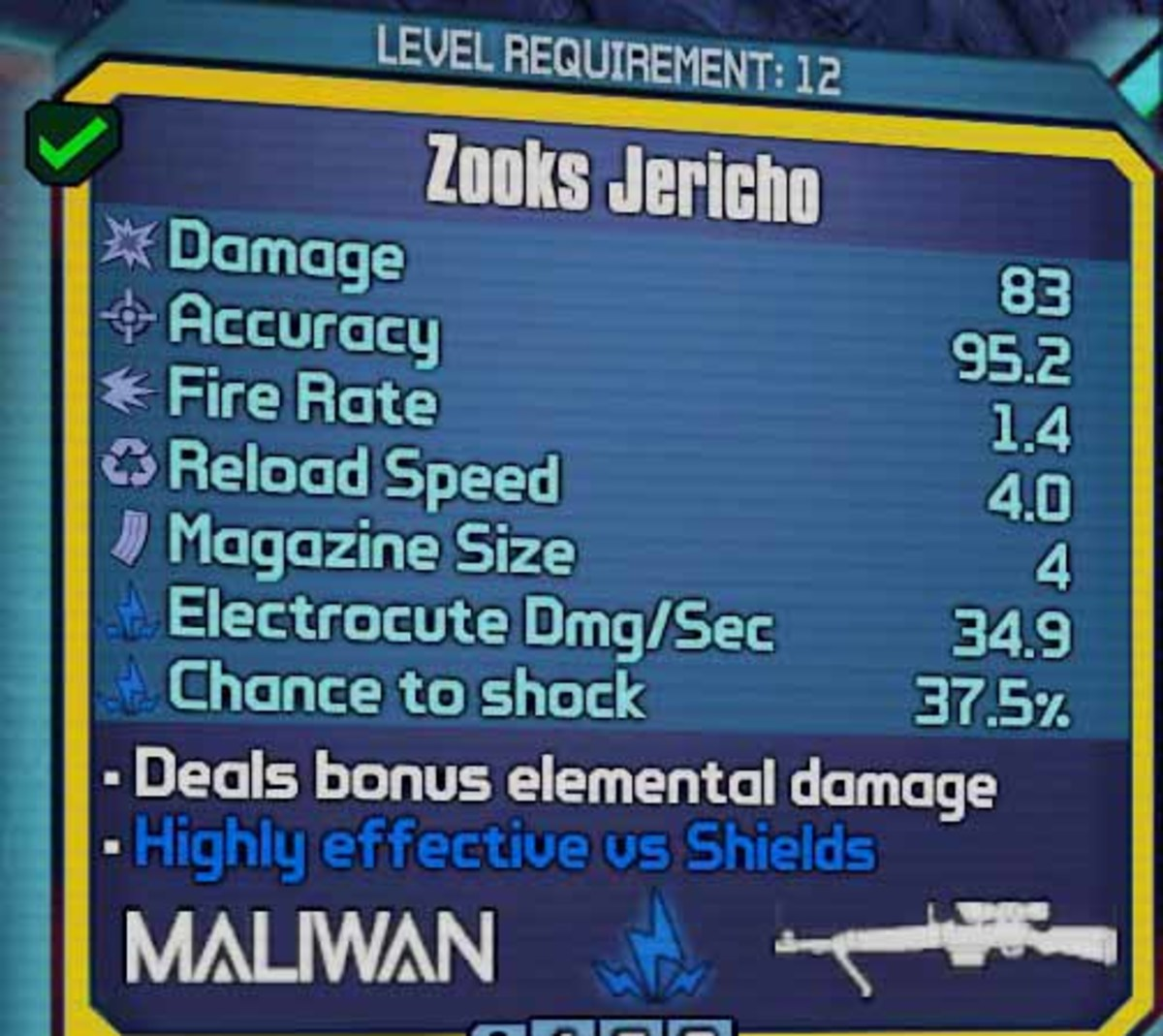 Borderlands 2 Zooks Jericho - an example of a electric elemental weapon to take down shields.