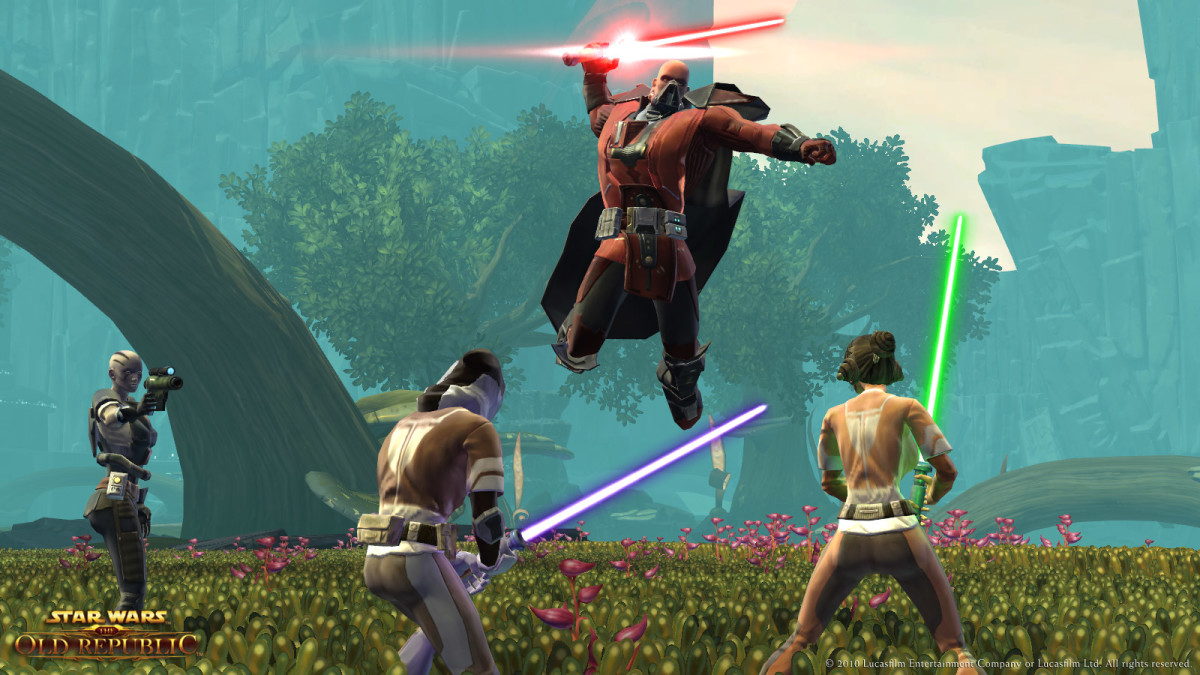 A Sith Warrior in action.