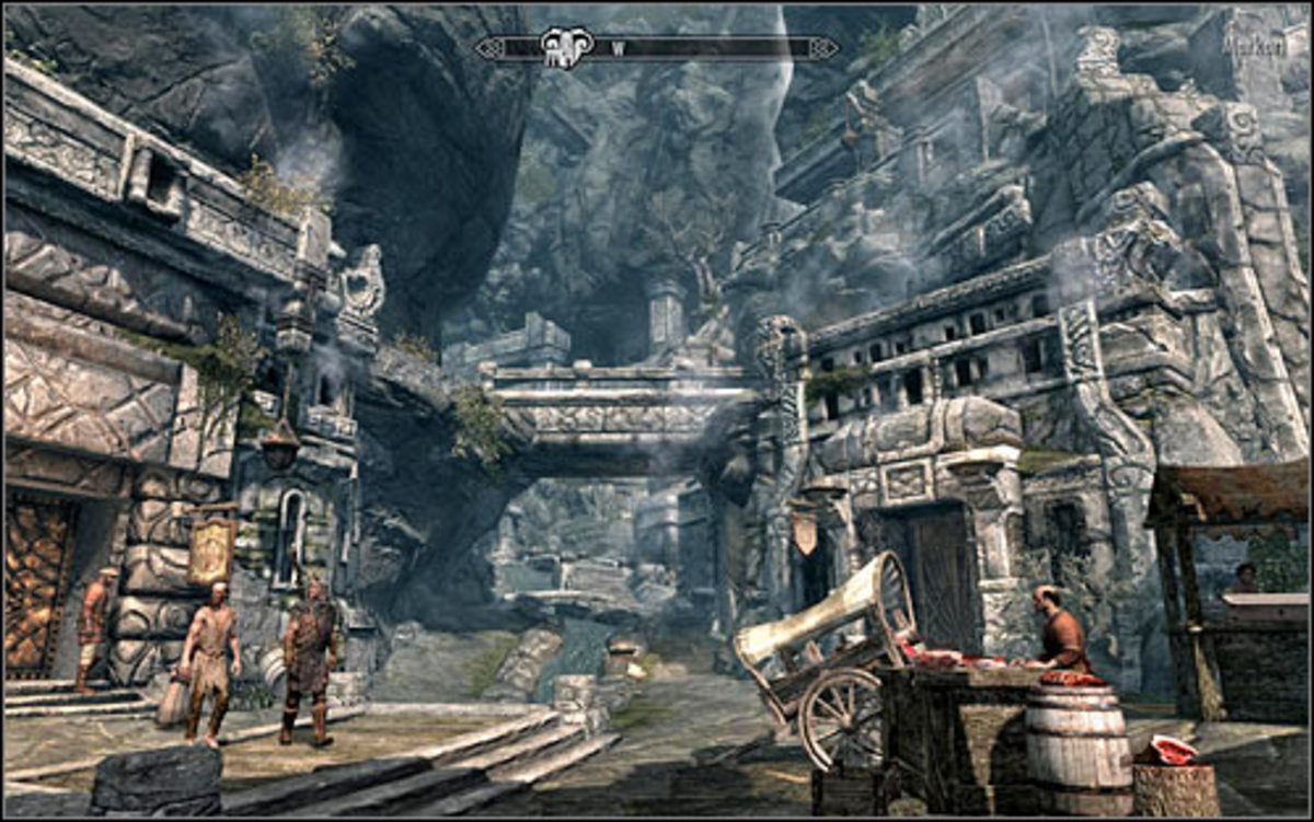 Markarth Marketplace. Head straight ahead. Abandoned house is beneath the bridge in the middle.