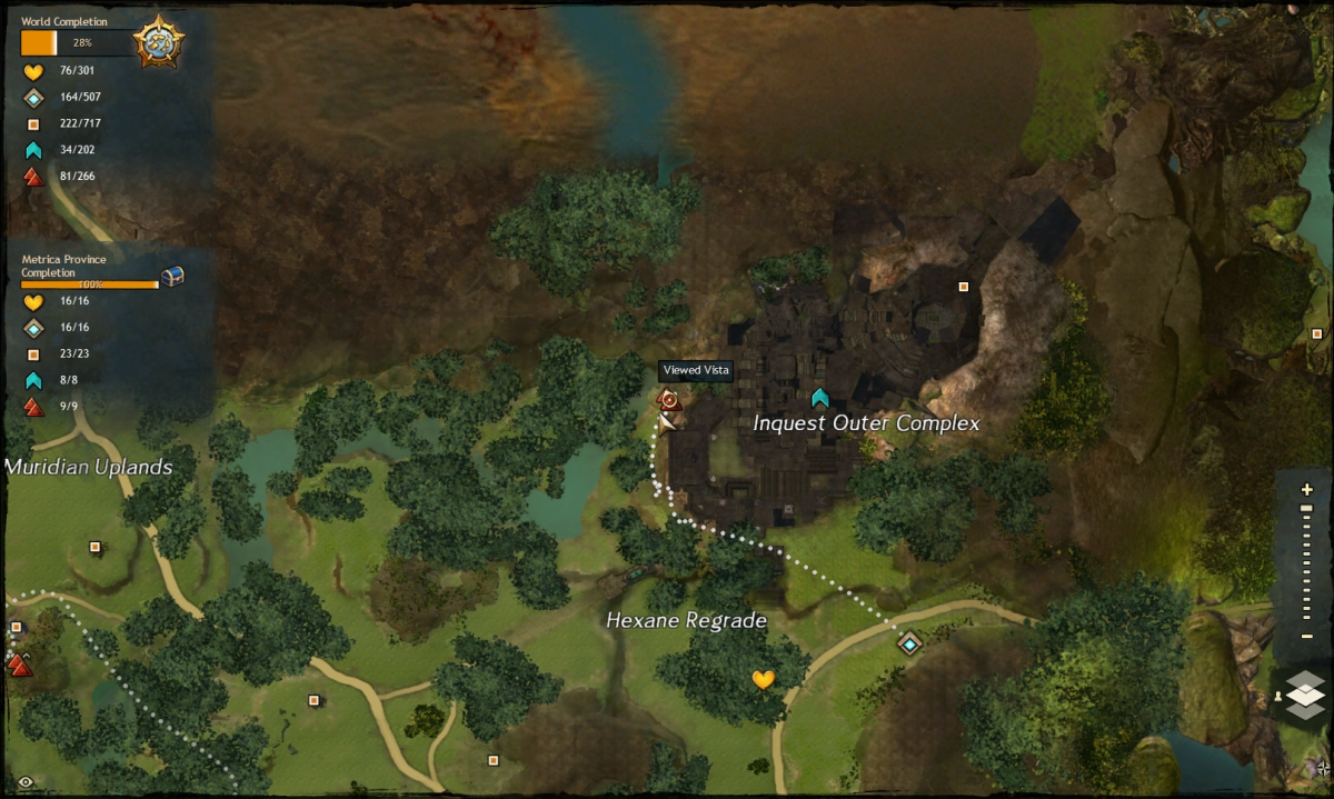 The map route to the Inquest Outer Complex Vista
