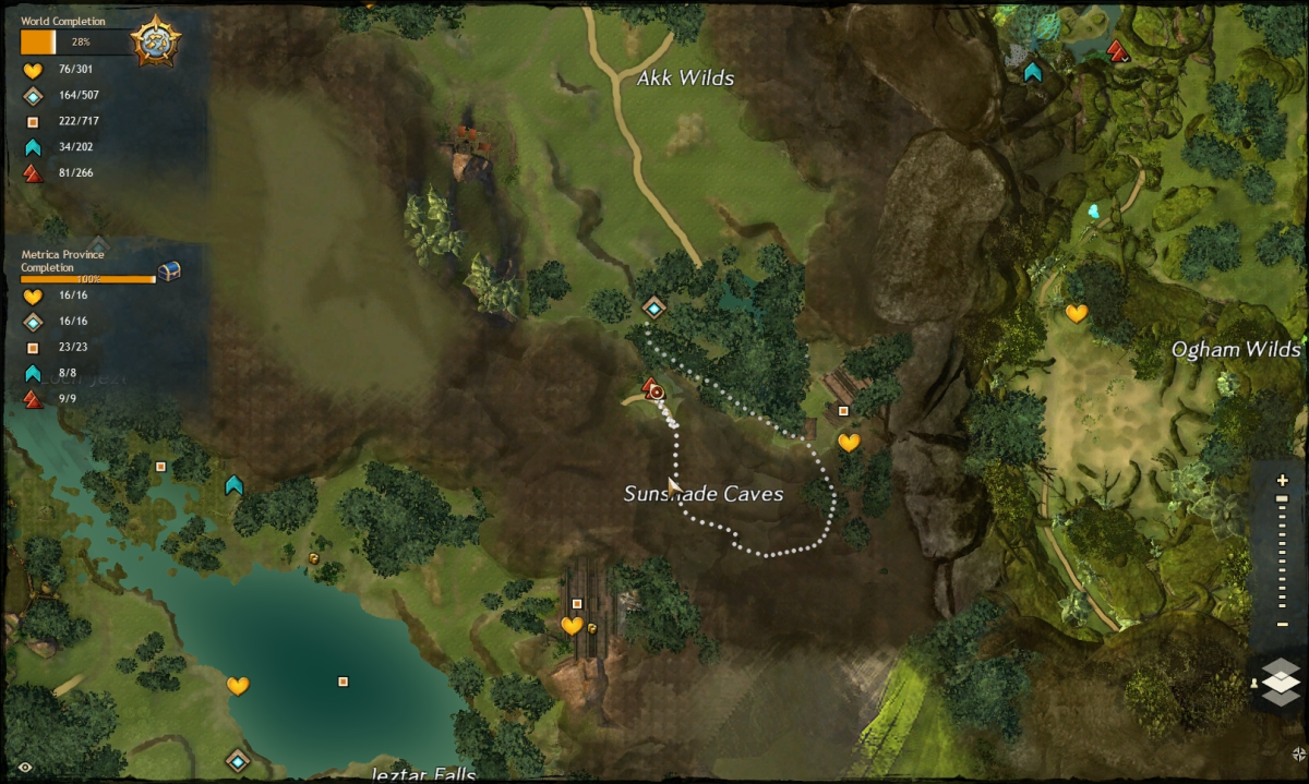 The map route to the Sunshade Caves Vista