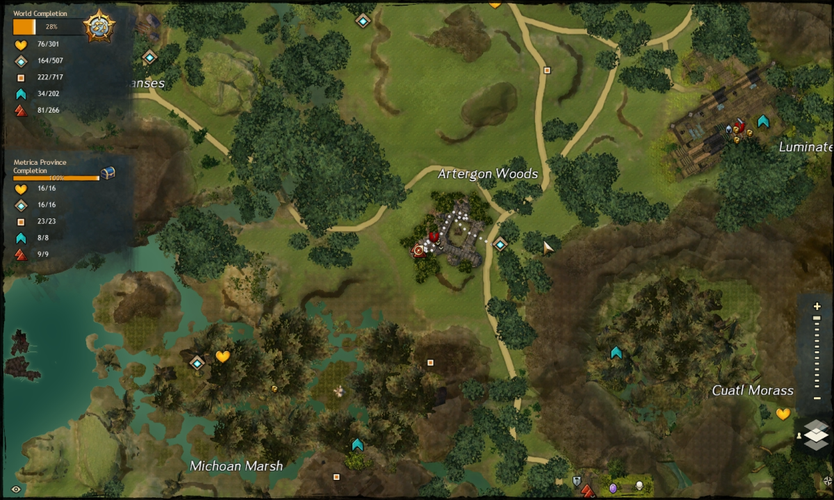 The map route to the Artergron Woods Vista