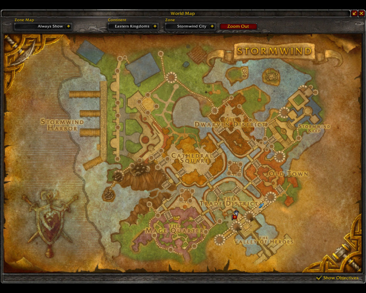 Asking city guards where to find the Guild Master or vendors will mark the location of the Visitor Center on your map.
