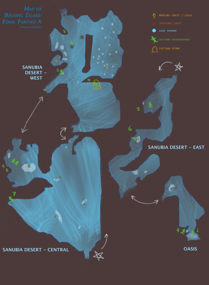 """Final Fantasy X Map"" of Bikanel Island / Sanubia Desert"