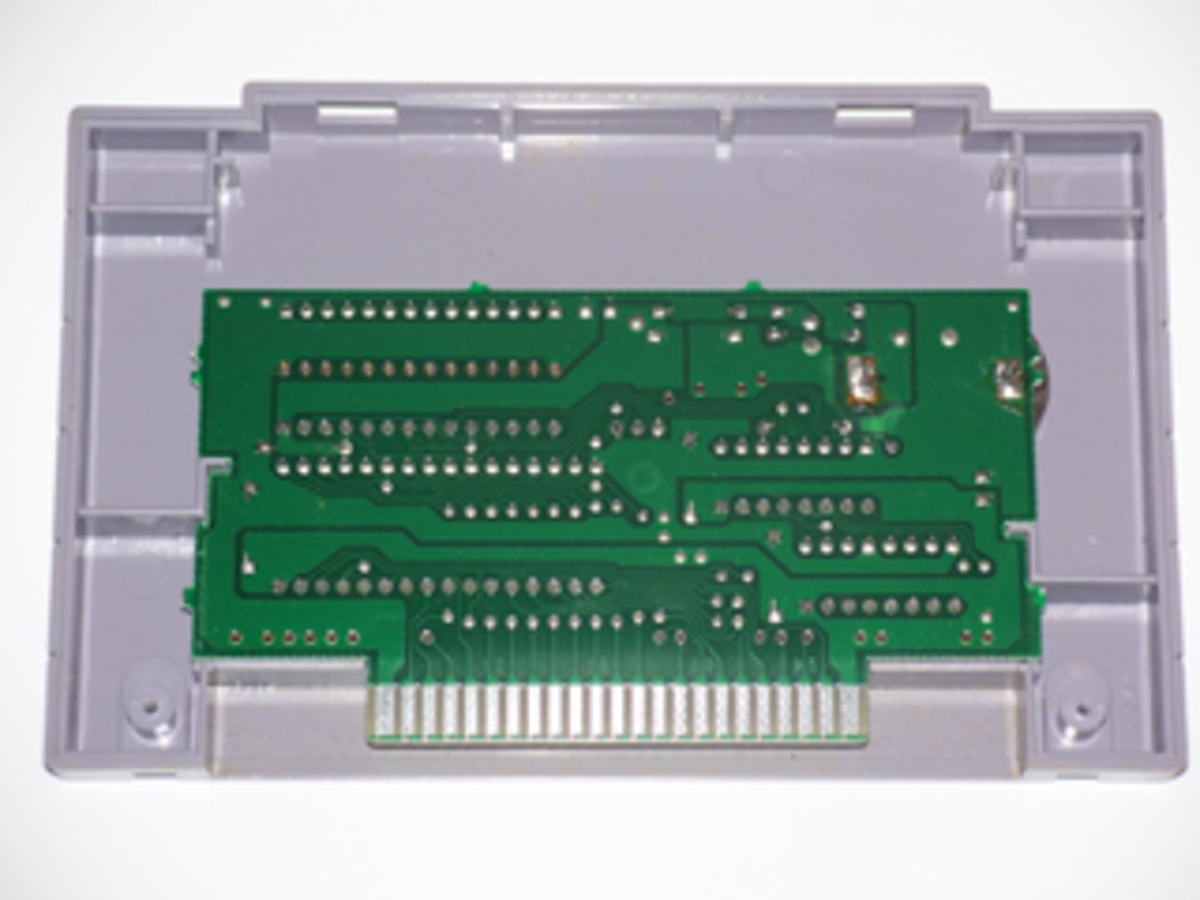 A SNES game motherboard after cleaning its contacts with metal polish. Nice and shiny!