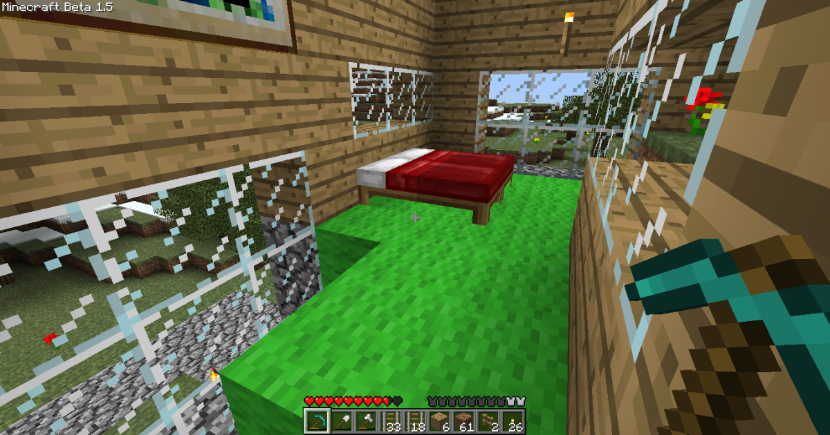 What does your dream room look like? This player's room has lots of natural light and a plush, grassy floor.