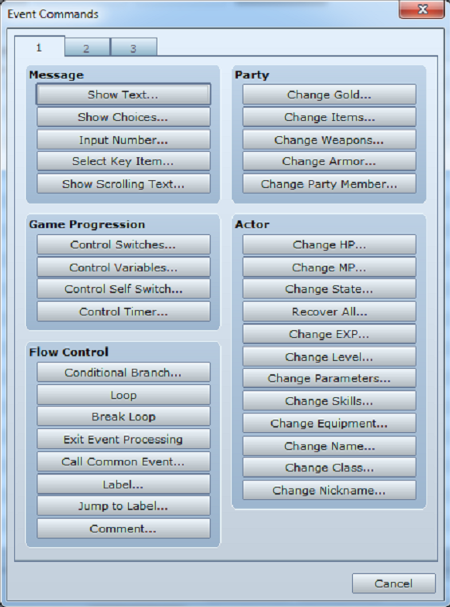 The first of three pages of event commands.