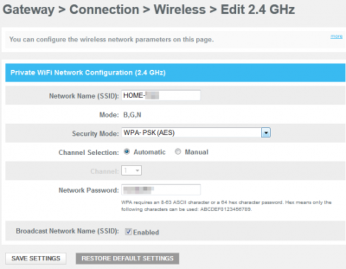 Editing Comcast Wireless Settings