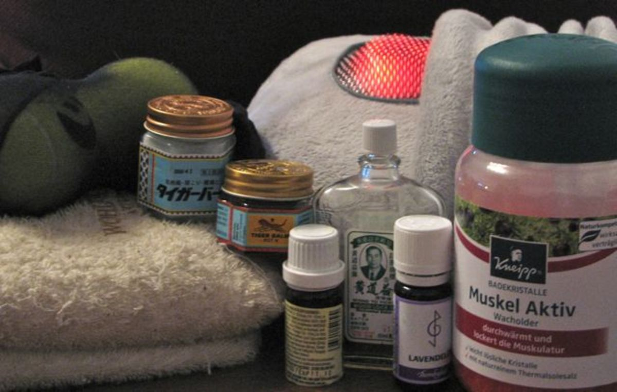 Massage cushions, heat pack, essential oils, sports rubs and bath salts help to reduce my pain.
