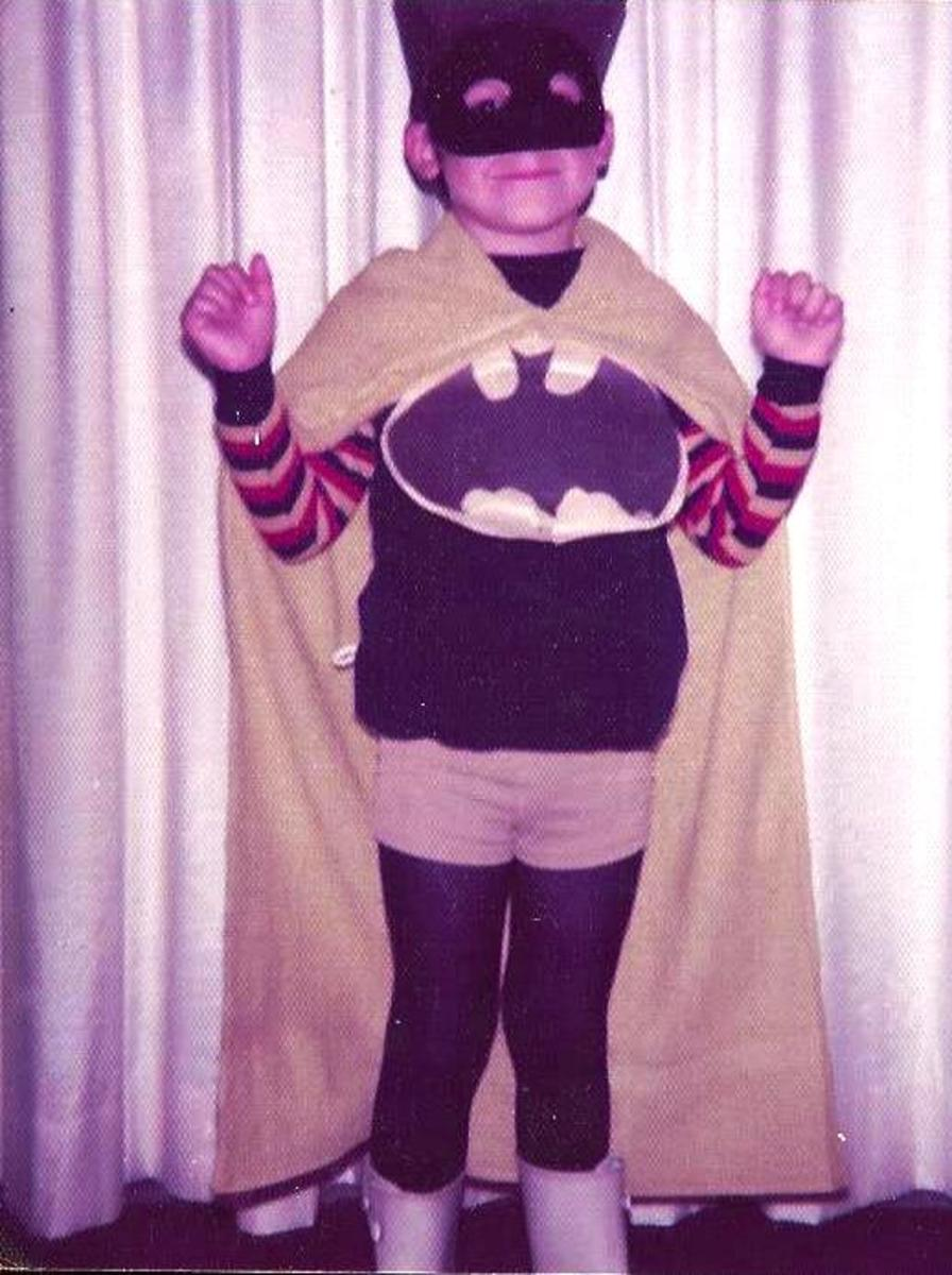 My brother in 1976 as the Caped Crusader, ready to conquer the dark forces of evil.