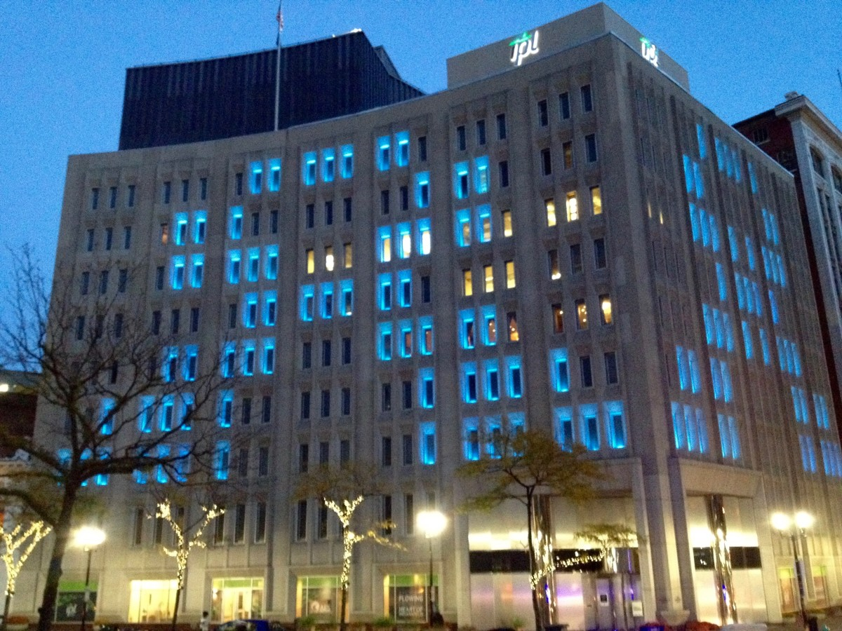 The Indianapolis Power & Light building in downtown Indianapolis lights up for the International Trigeminal Awareness Day on October 7th, 2015.