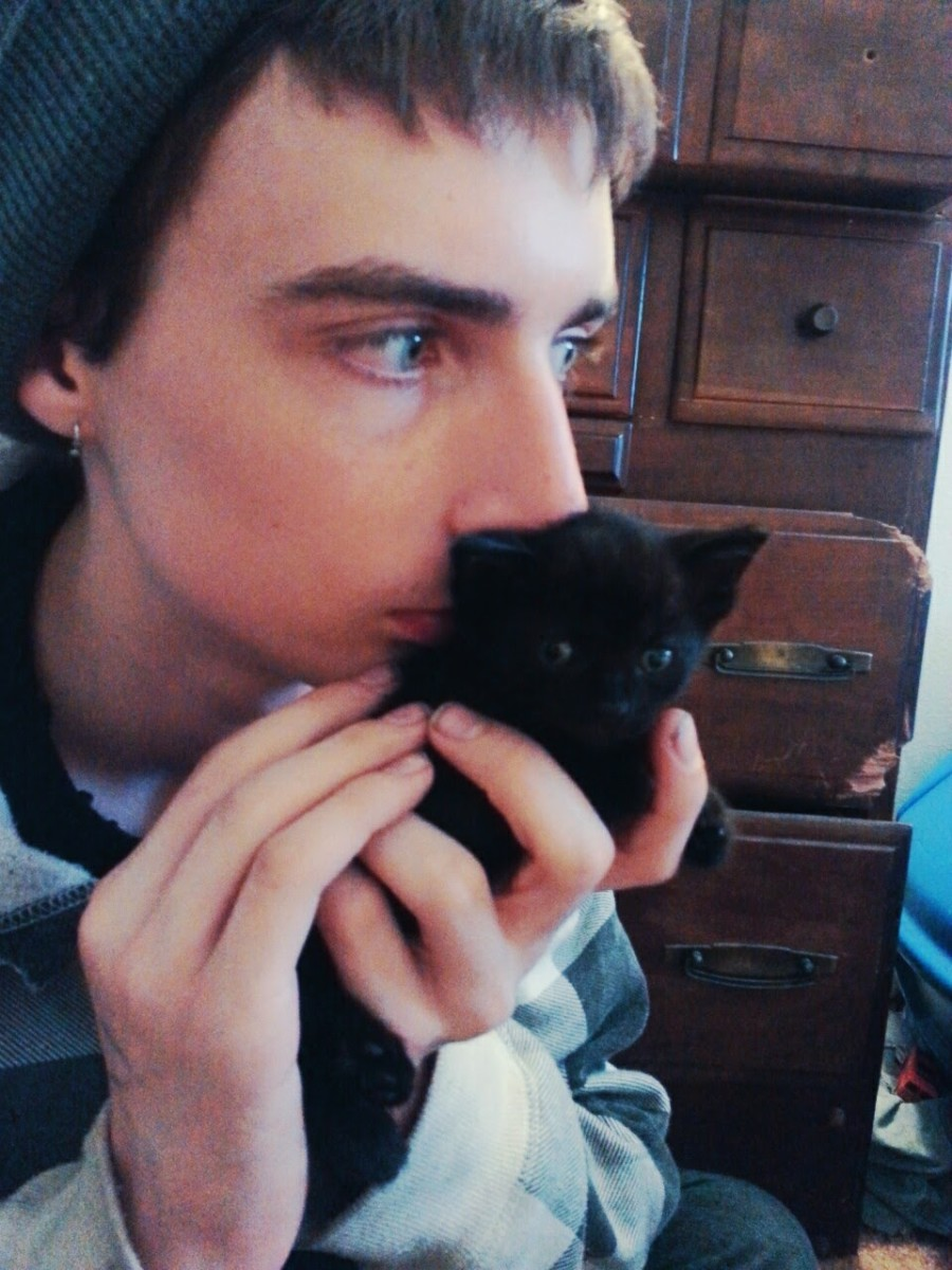Gavin and his kitten Paul