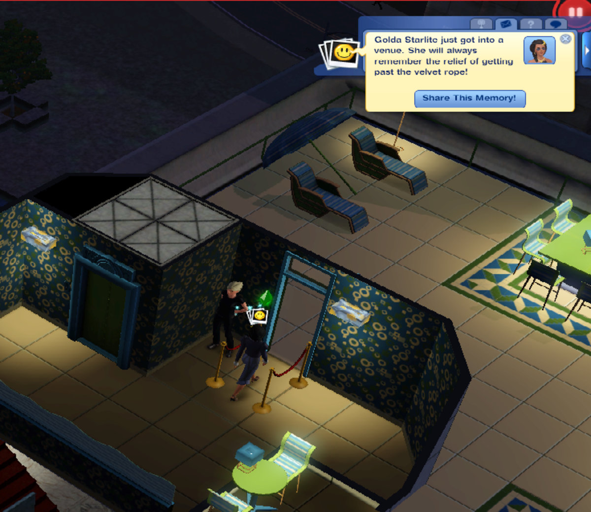 One of the joys of Sim celebrity is getting into a VIP venue.
