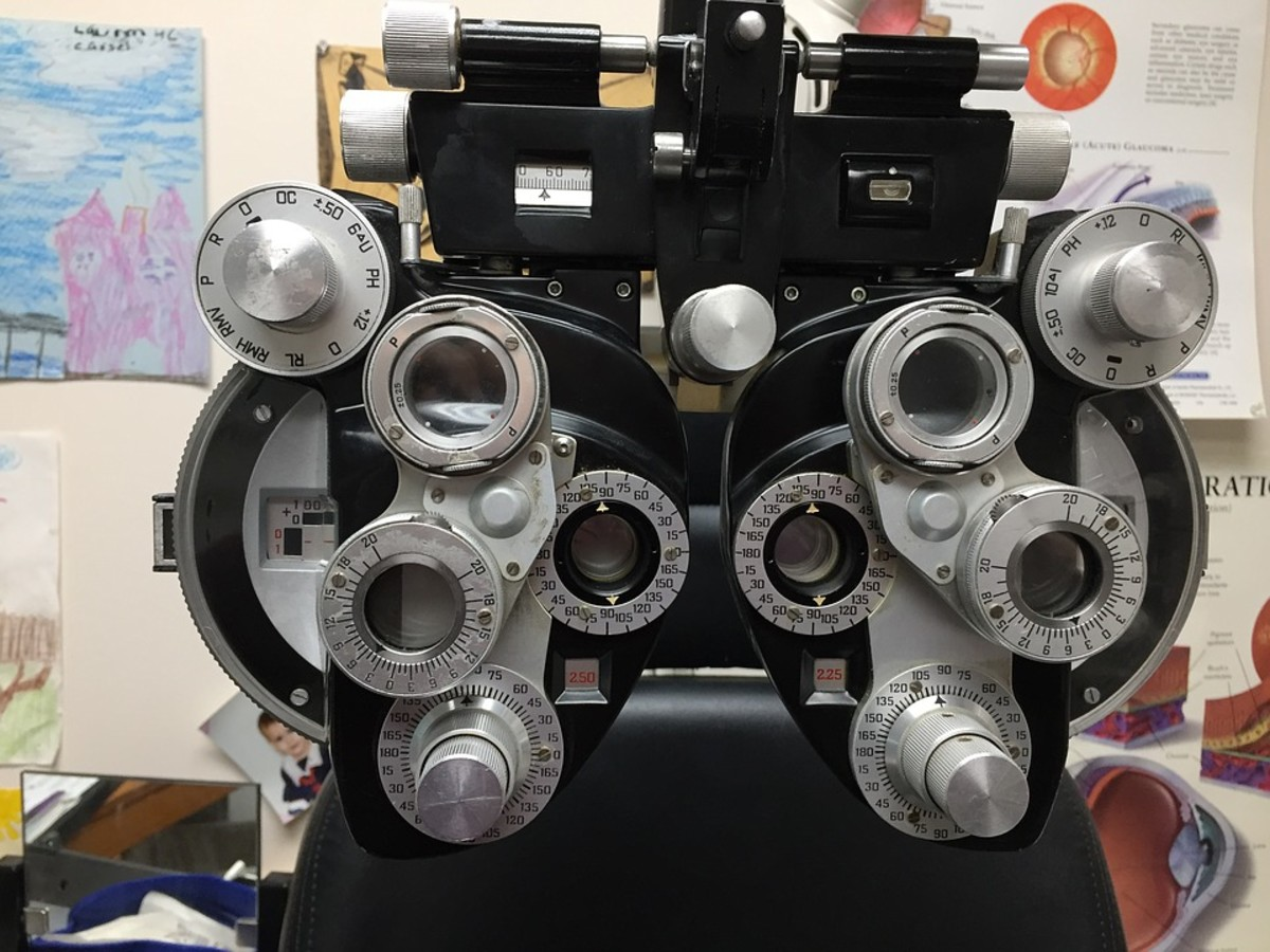 This device, a phoropter, is used to examine your natural lenses.
