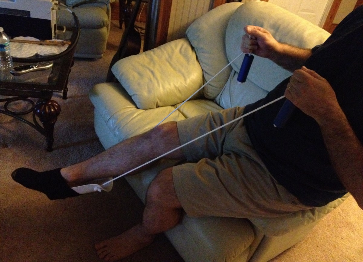 Putting on socks can be very difficult if you have avascular necrosis of the hip or are recovering from hip replacement surgery.  This rope tool makes the task easy and painless.