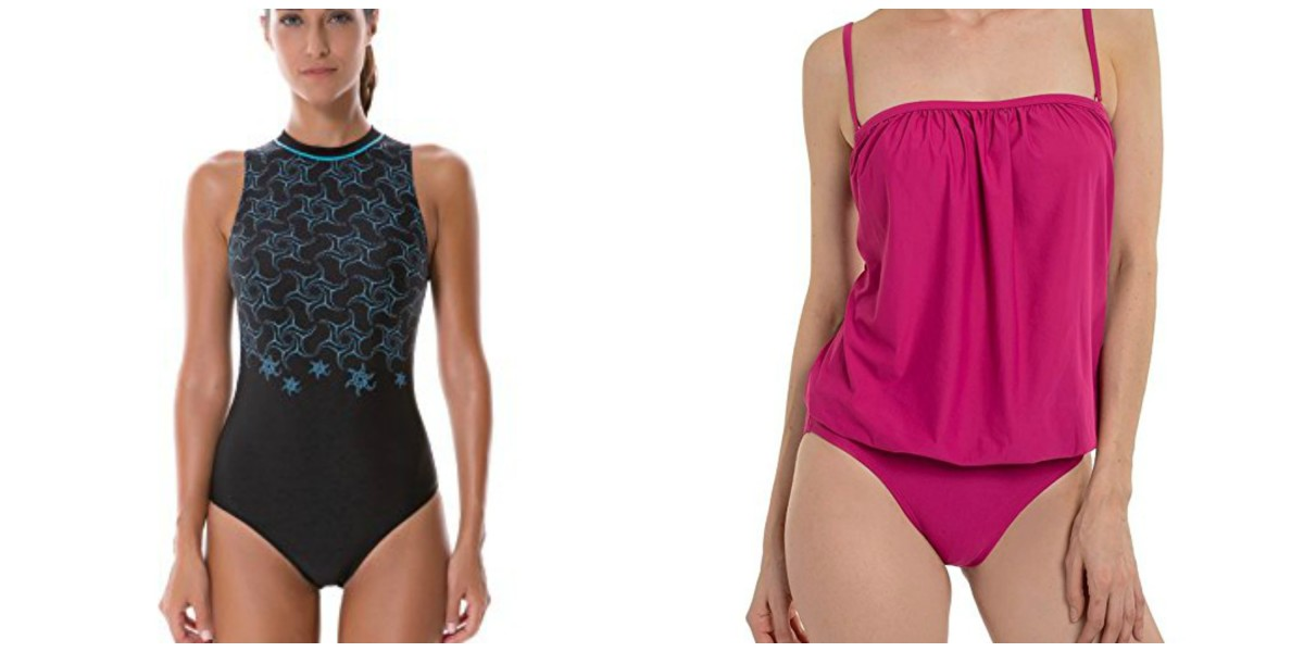 Two examples of swimsuits that could be worn flat. The blouson style has pockets