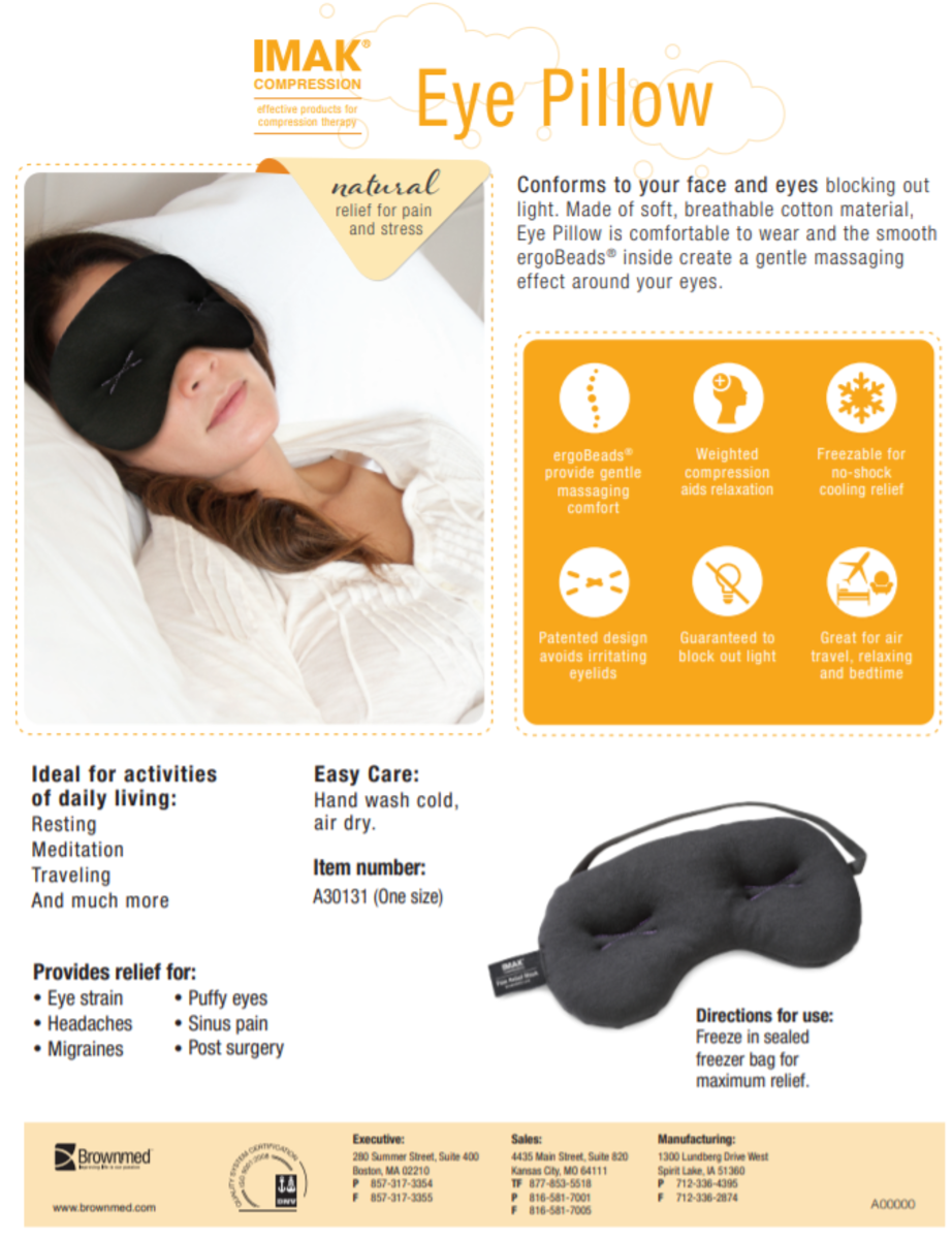 The brochue for the IMAK Compression Eye Pillow (weighted eye mask)