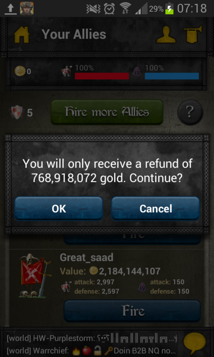 You get a refund when you drop an ally.