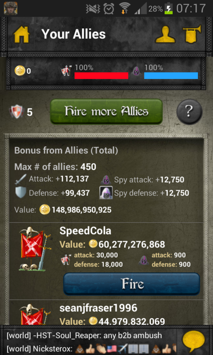 Here you can see your bonus from allies.