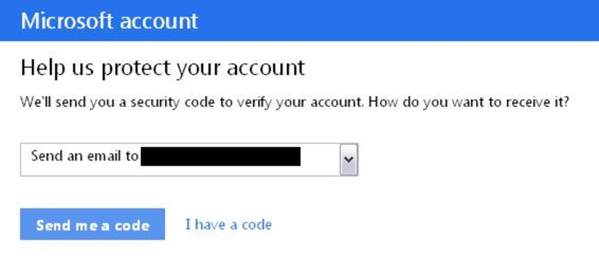 "Select your email address and select ""send me a code"""