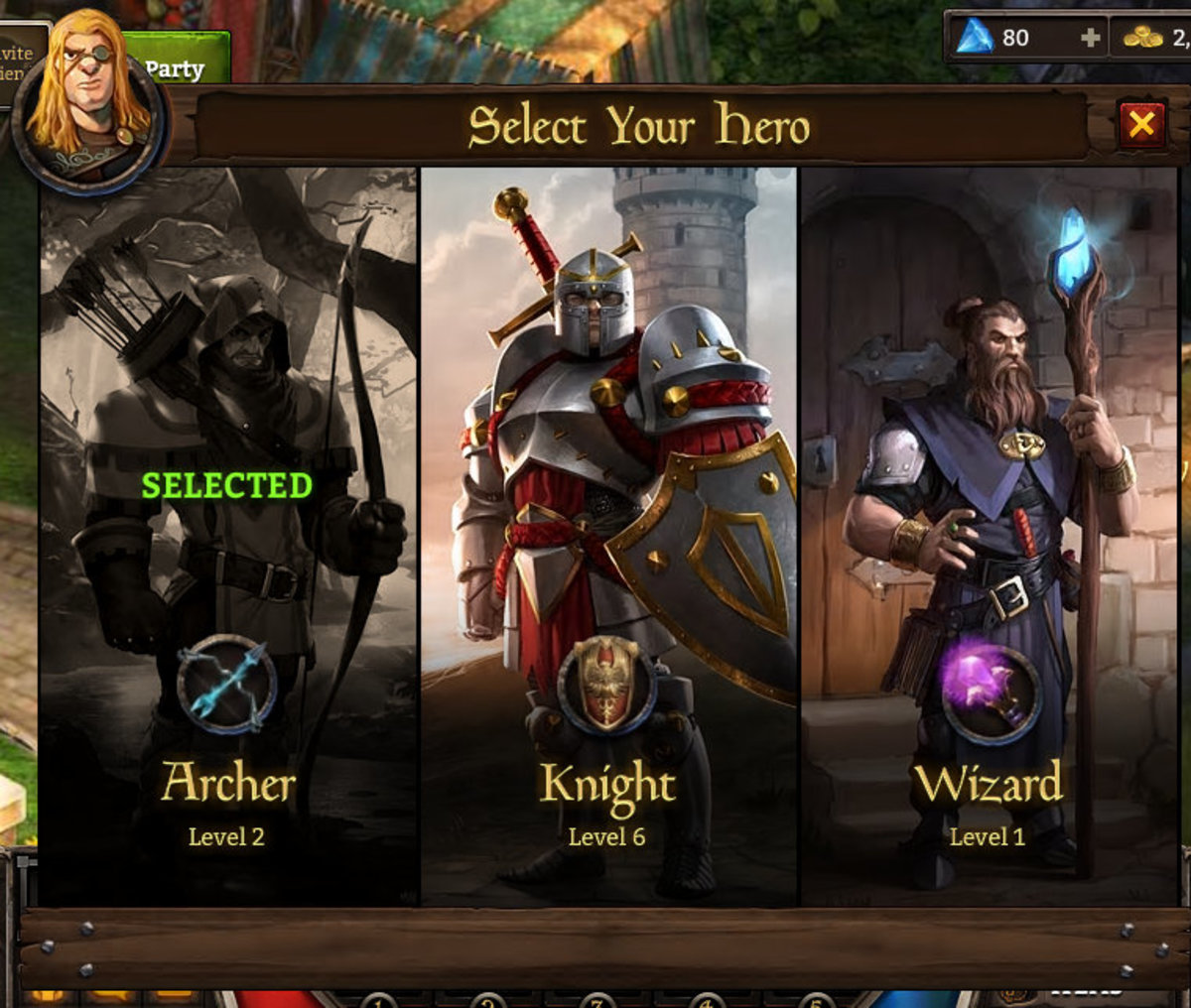 Character Class Selection Screen