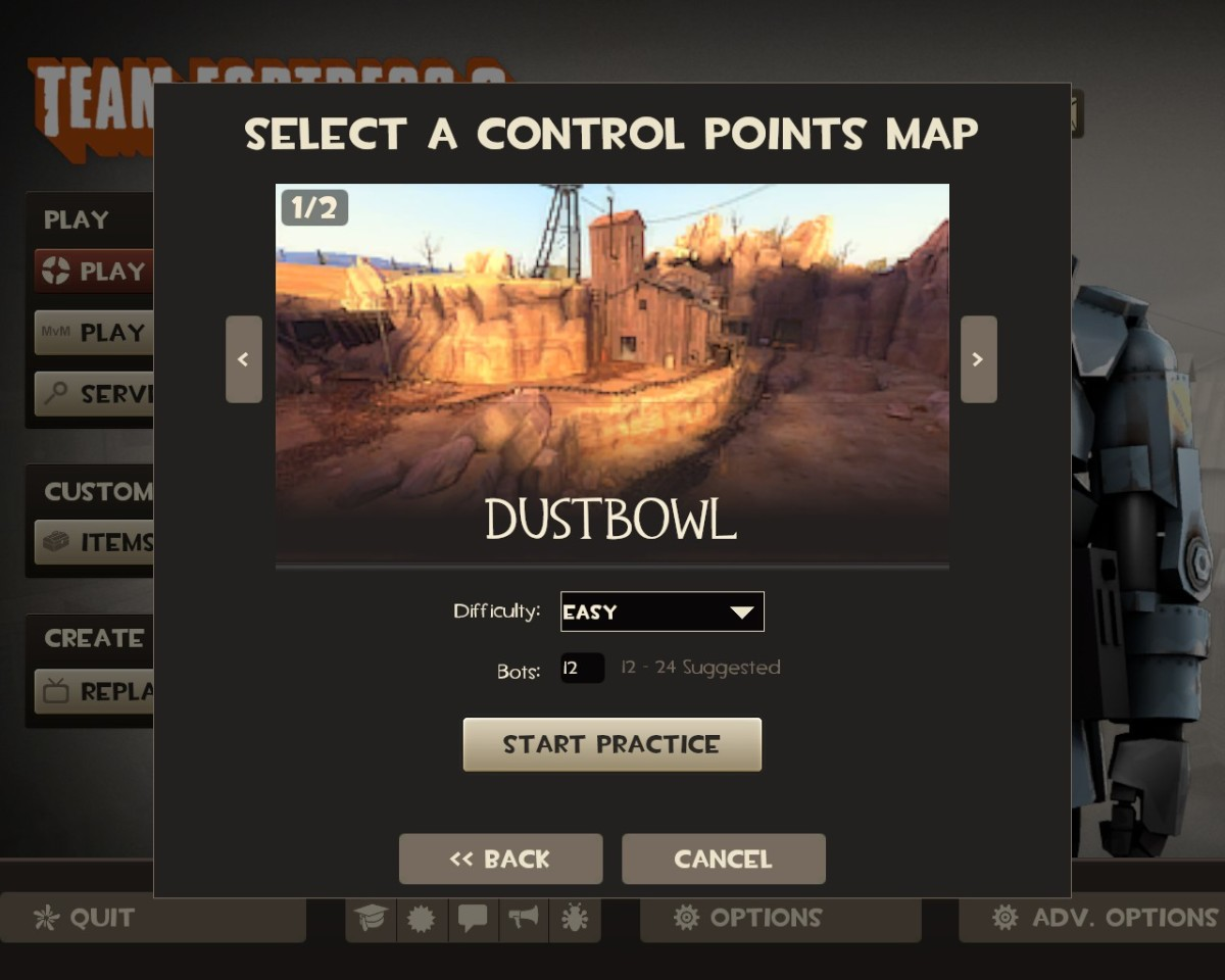 "Team Fortress 2 has a singleplayer ""practice"" option to hone your gaming skills."