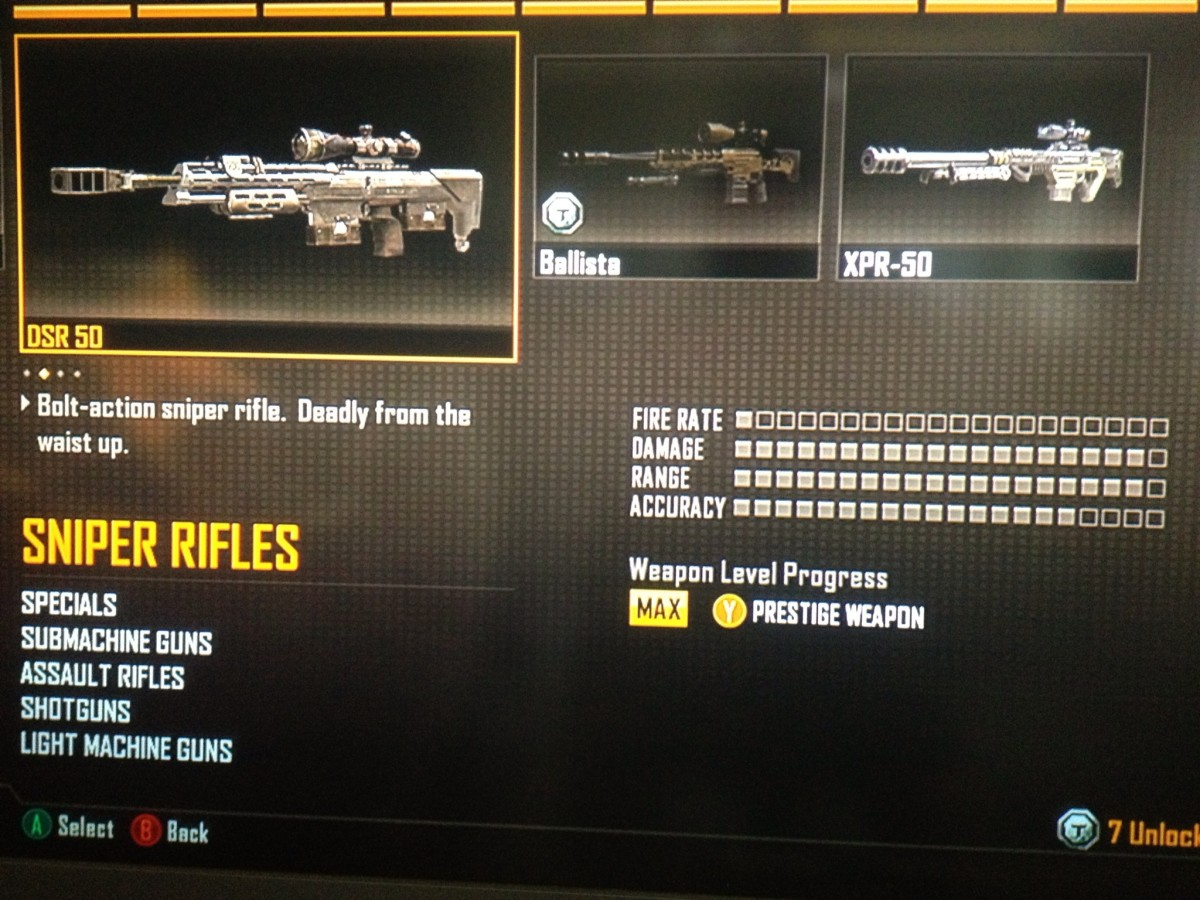 DRS-50 Sniper rifle.  The sniper's dream of one-shot-kills and very low percentage of hit markers.  It's awesome power makes it a BO2 favorite.