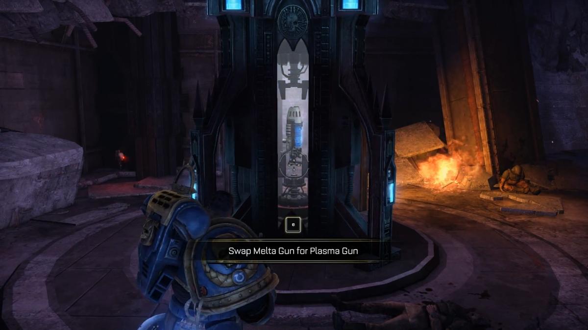 Plasma Gun shrine with skull siting in plain view.