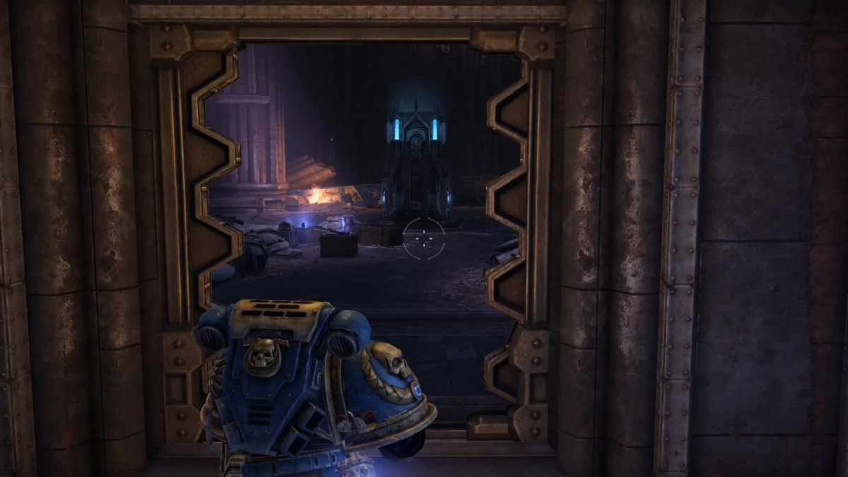 Entering the Iron Halo room, with the shrine you receive it from straight ahead with the glowing light blue bits.