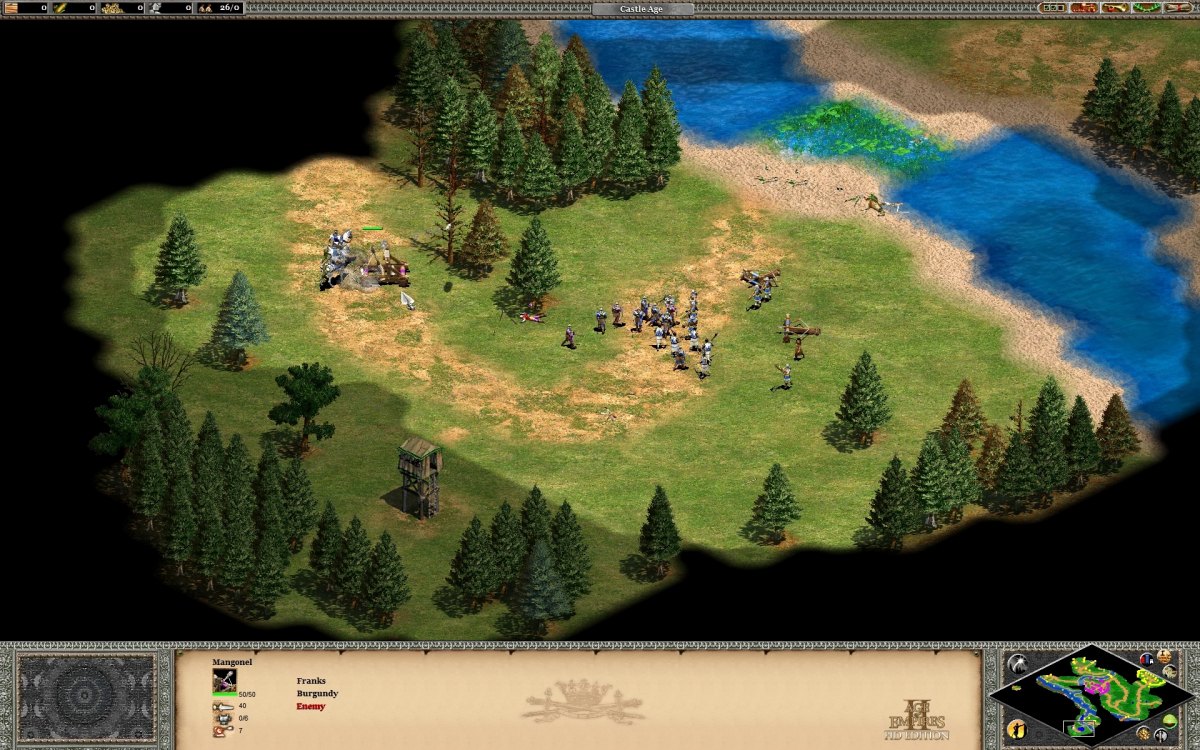 Fighting the second and final group of enemies, rushing the Mangonel to get rid of it ASAP.