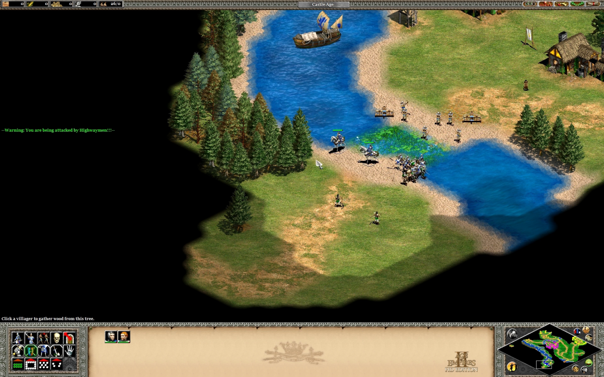 Baiting and fighting the first enemy group of Highwaymen.