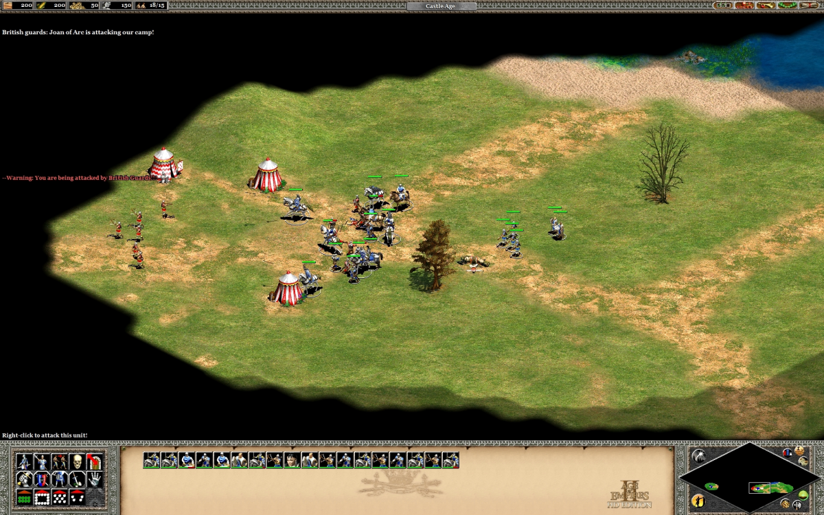 Attacking the British Guard forces that stand in the way of your path to the french town.