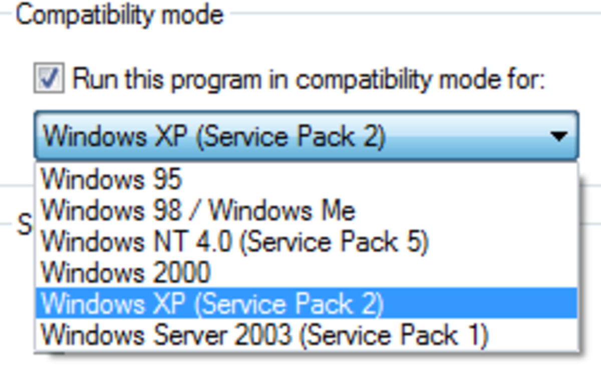 Compatibility mode in Windows Vista.