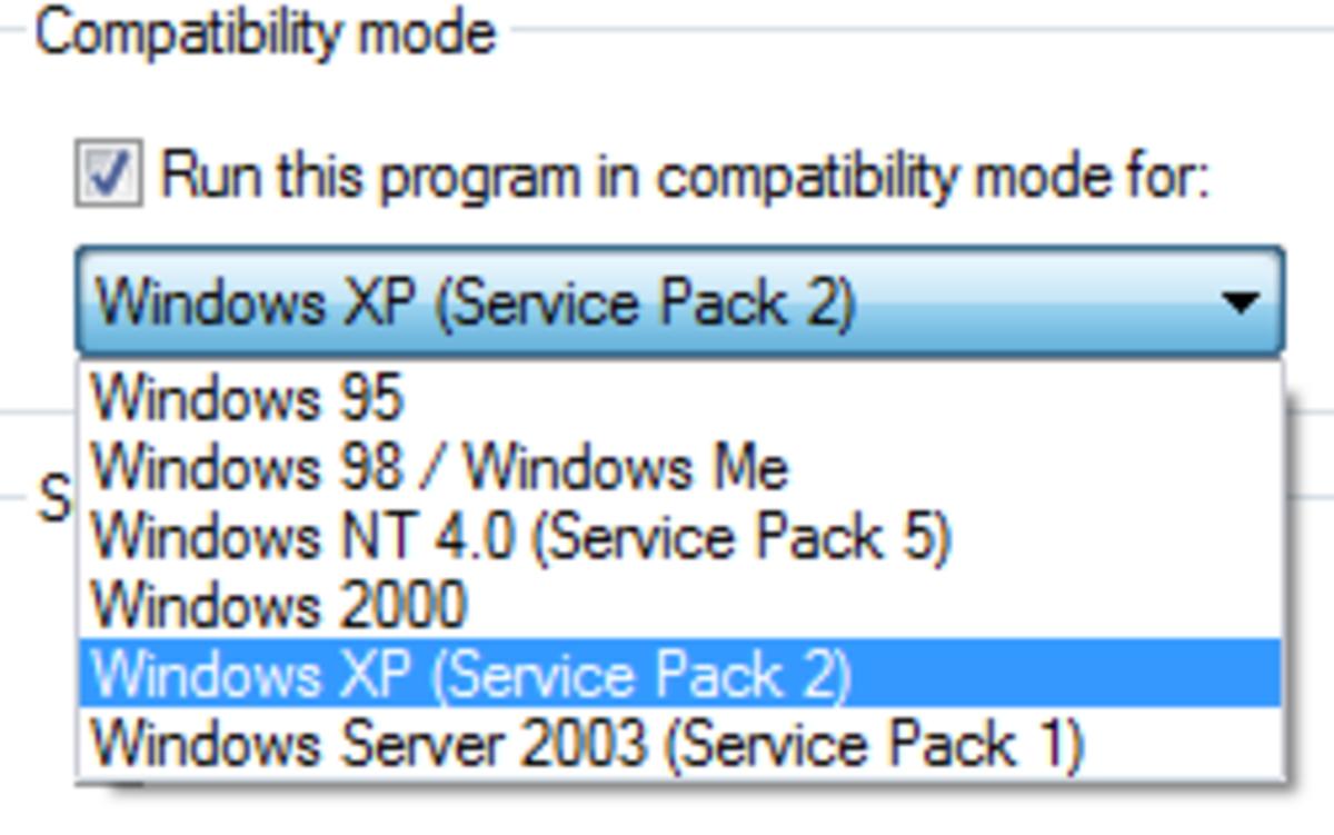 Compatibility mode in Windows Vista.