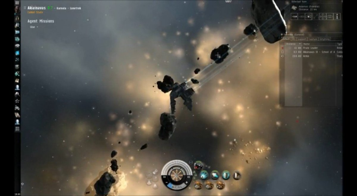 A large amount of mineable asteroids occupy the mission area, ungaurded by a gate.