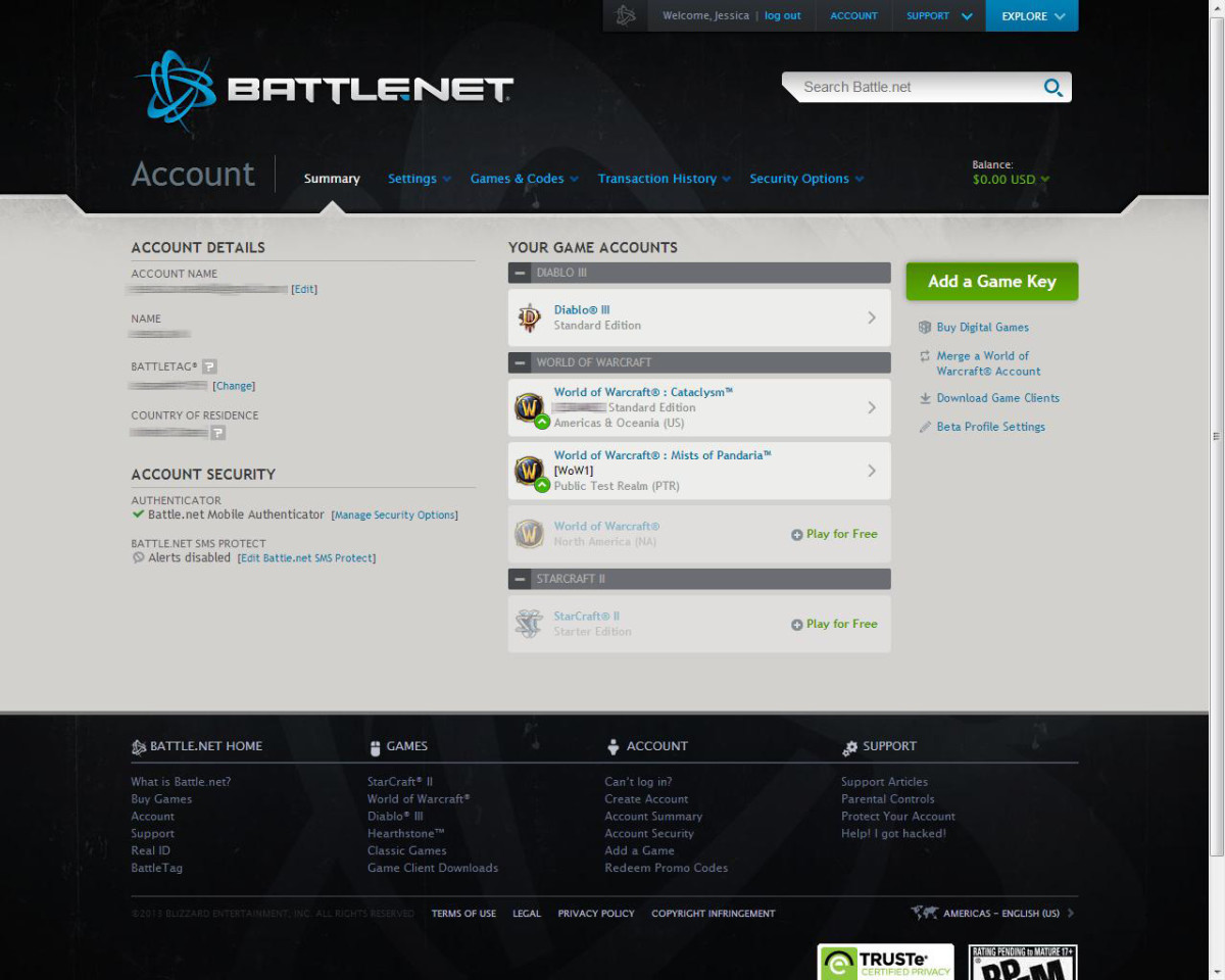 Your Battle.net account summary shows you everything from information to games.