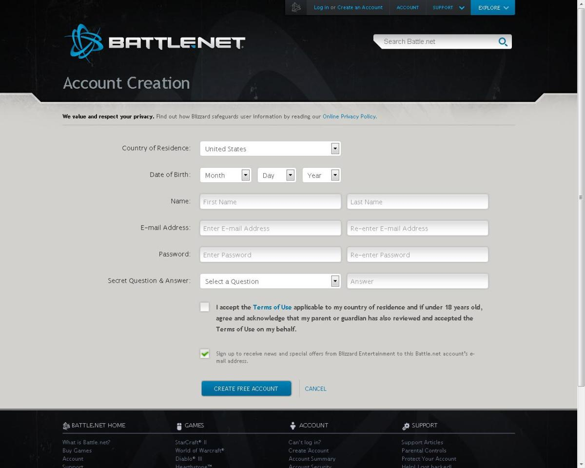 Creating a Battle.net account is a simple, free and is required to play World of Warcraft.