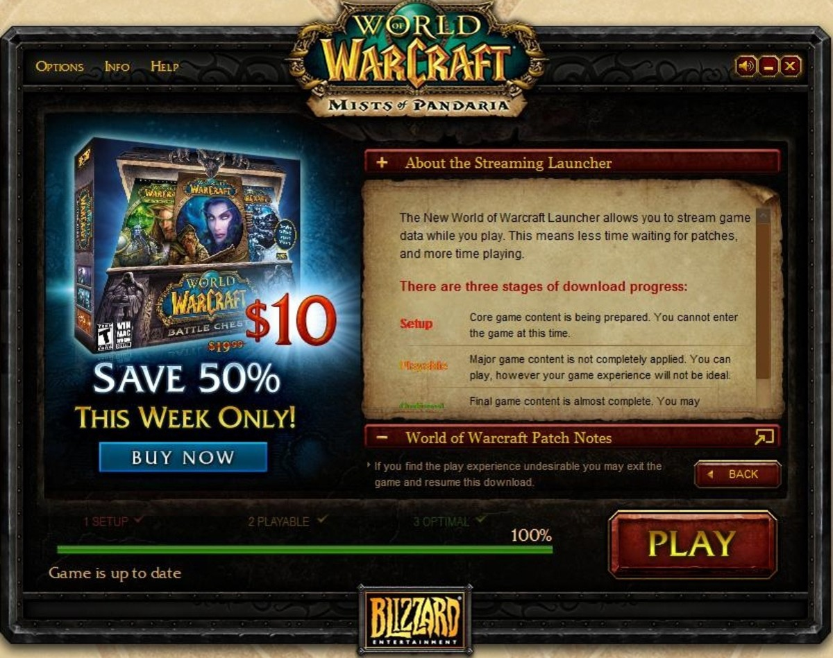 The World of Warcraft game launcher automatically updates your game files.