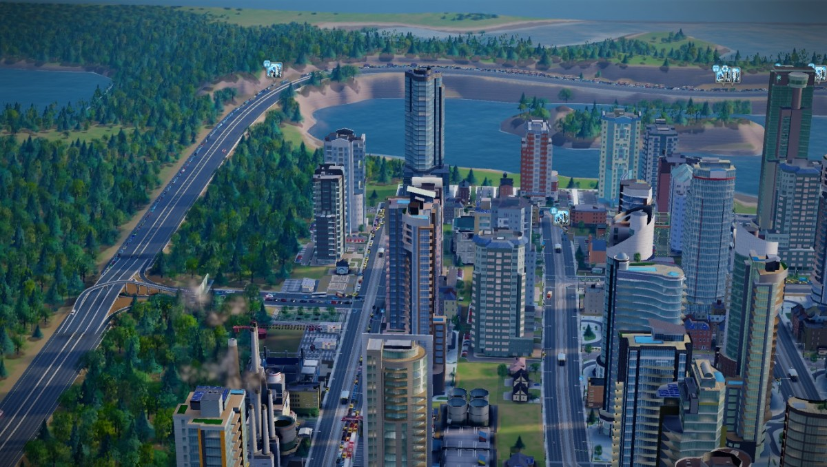 "Traffic can be a nightmare in ""SimCity 2013.""  Before I learned to manage traffic, my highway was full, for as far as the eye could see"