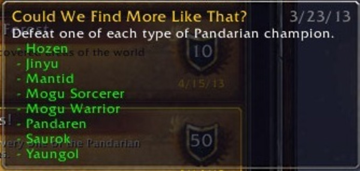 """Could We Find More Like That?"" achievement for defeating one of each type of rares in Pandaria."