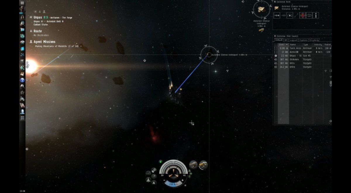 Though jumping to a nearby system will likely lead to finding more belts with asteroids available to mine.